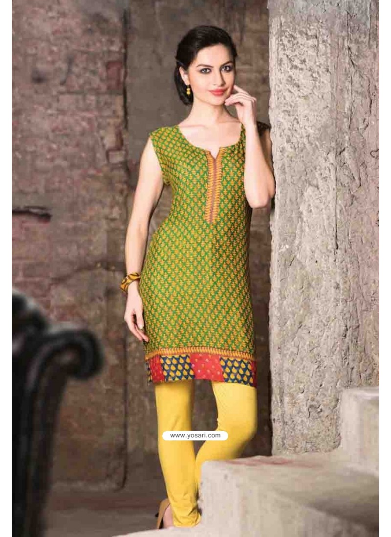 Green Color Cotton Jacquard Kurti