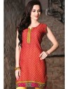 Orange Shade Color Cotton Jacquard Kurti
