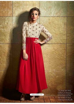 Cream And Red Color Georgette Gown
