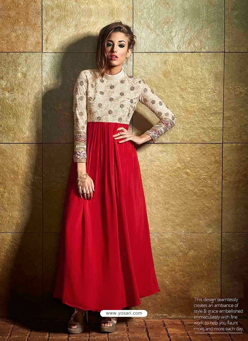 fb3687aa887 Buy Cream And Red Color Georgette Gown
