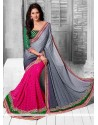 Beautiful Pink And Grey Shaded Viscose Half And Half Saree