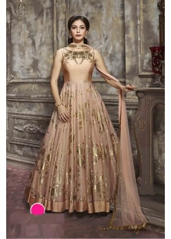Amazing Brown Paper Silk Floor Length Anarkali Suit