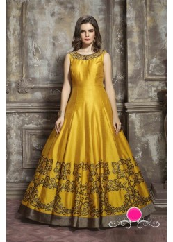Splendid Yellow Malbari Pure Handwork Anarkali Salwar Suit