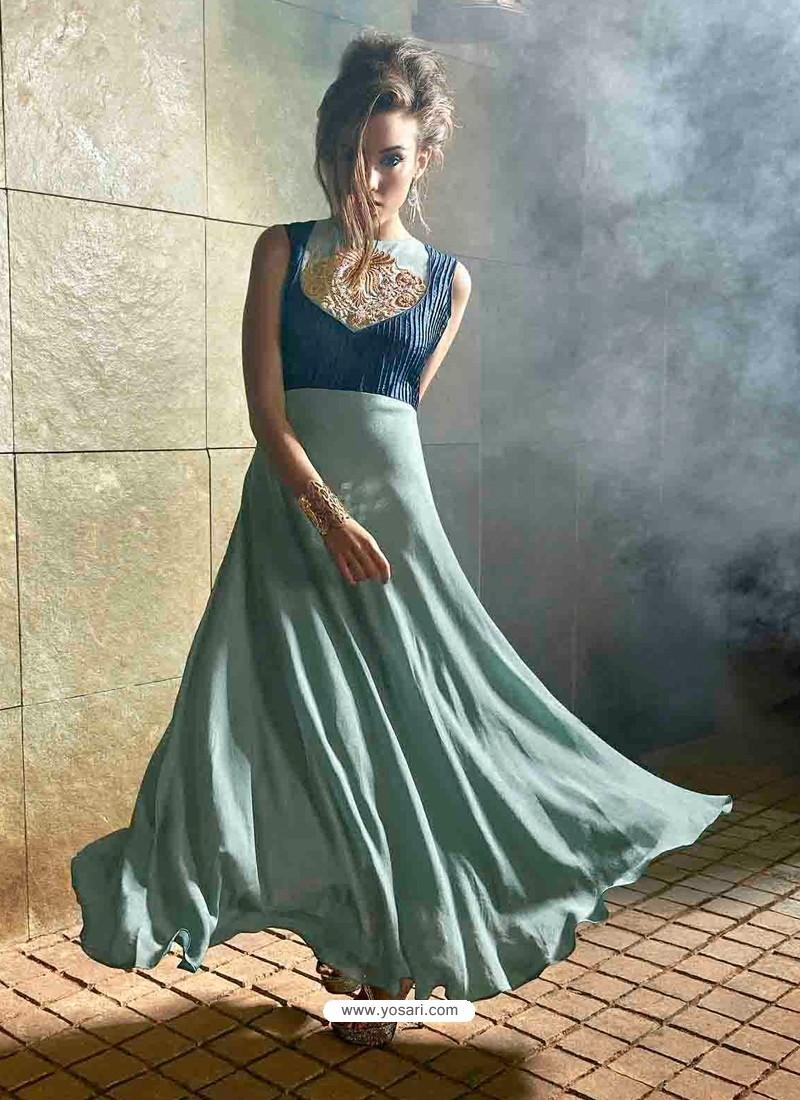 Sky Blue Color Crepe Gown