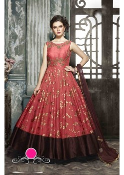 Ordinary Red Designer Paper Silk Anarkali Suit