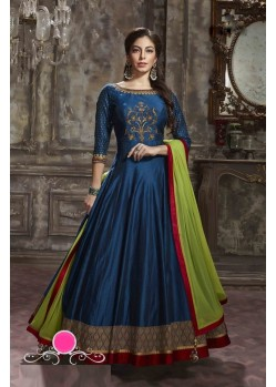 Impressive Blue Pantom Silk Anarkali Suit