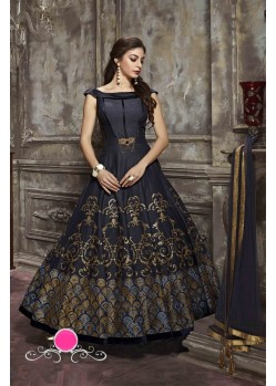 Splendid Black Malai Satin Anarkali Suit