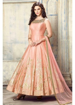 Superb Peach Mastani Silk Anarkali Suit