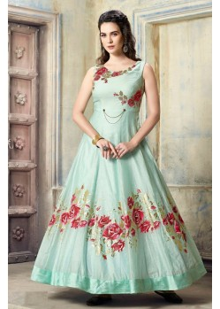 Fabulous Aqua Blue Malbari Silk Anarkali Suit