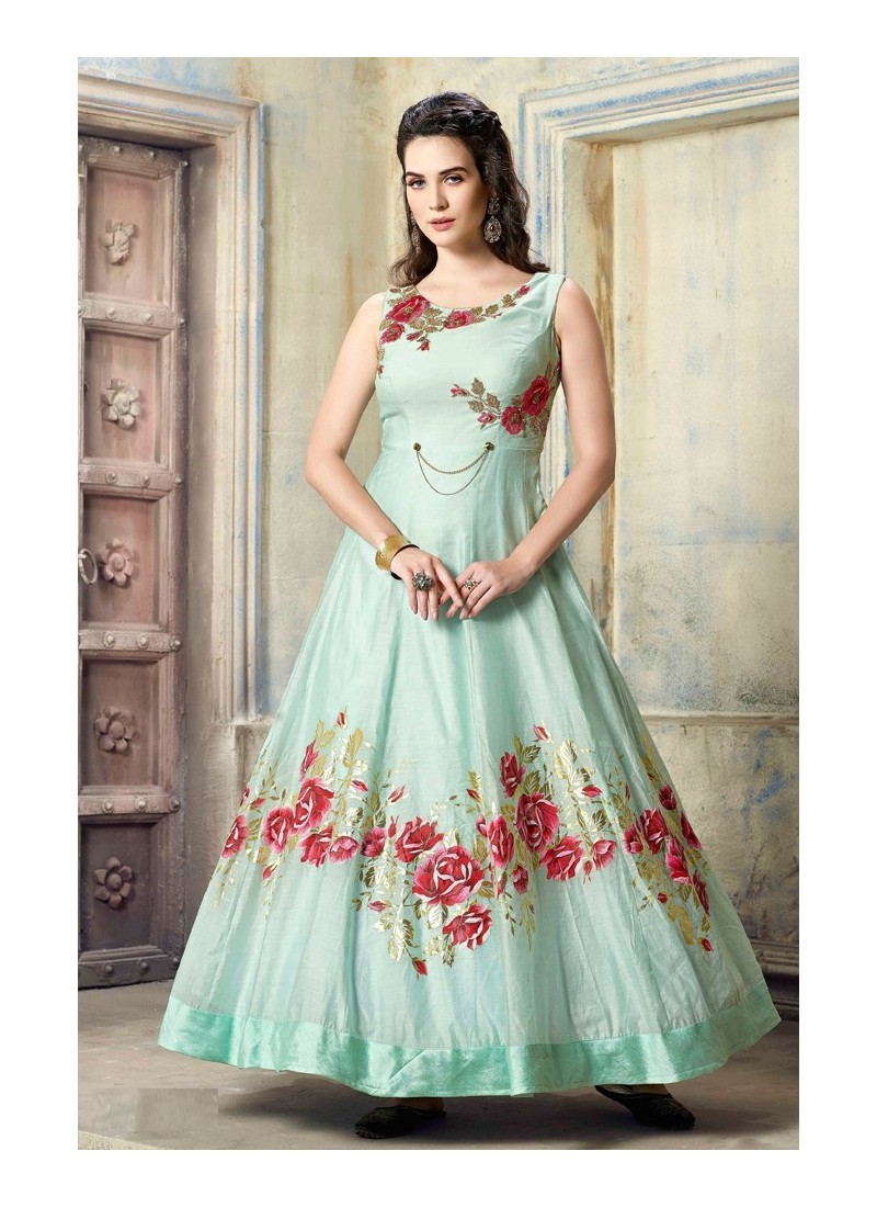 Fabulous Aqua Blue Malbari Silk Anarkali Suit