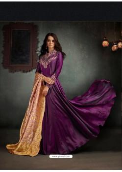 Amazing Purple Barfi Two Tone Silk Floor Length Anarkali Suit