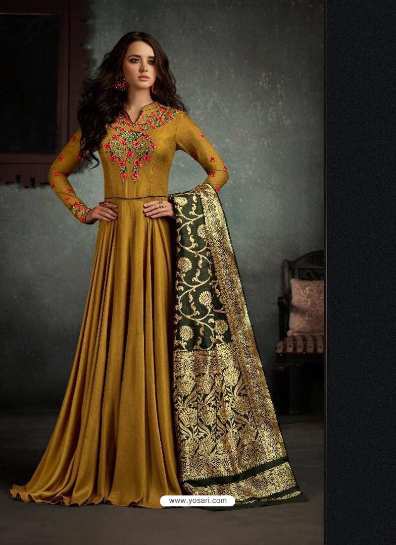 0d6a3437af Buy Splendid Green Rayon Cotton Anarkali Salwar Suit | Anarkali Suits