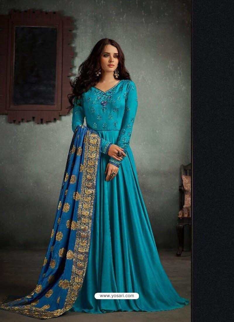 Buy Ordinary Blue Designer Rayon Cotton Anarkali Suit | Anarkali Suits