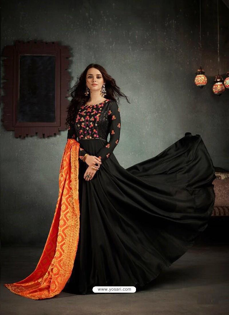 a6b6fabfb6 Buy Designer Black Rayon Cotton Anarkali Salwar Suit | Anarkali Suits