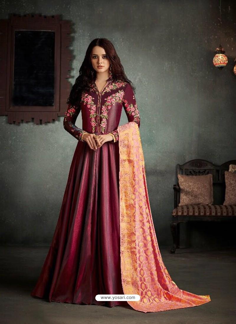 d5a0ae81a6 Buy Fabulous Maroon Barfi Two Tone Silk Anarkali Suit | Anarkali Suits