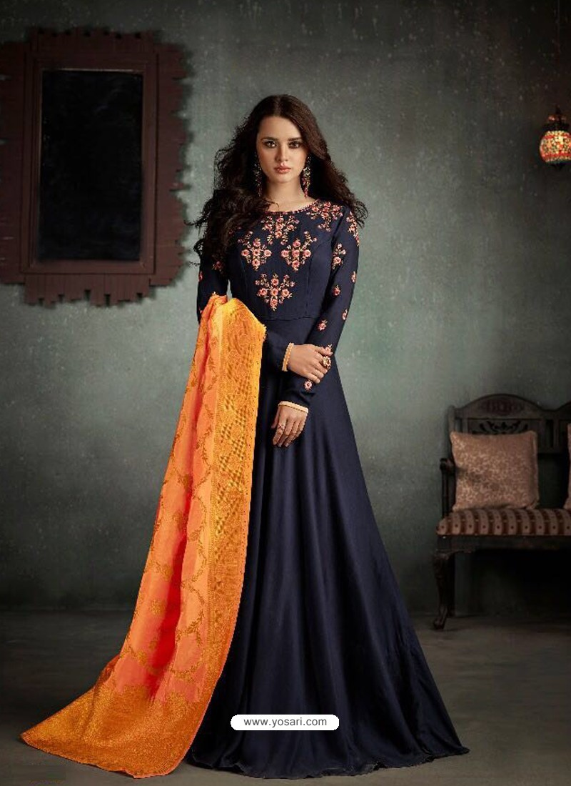 dbcd74c1ed Buy Impressive Navy Blue Rayon Anarkali Suit | Anarkali Suits