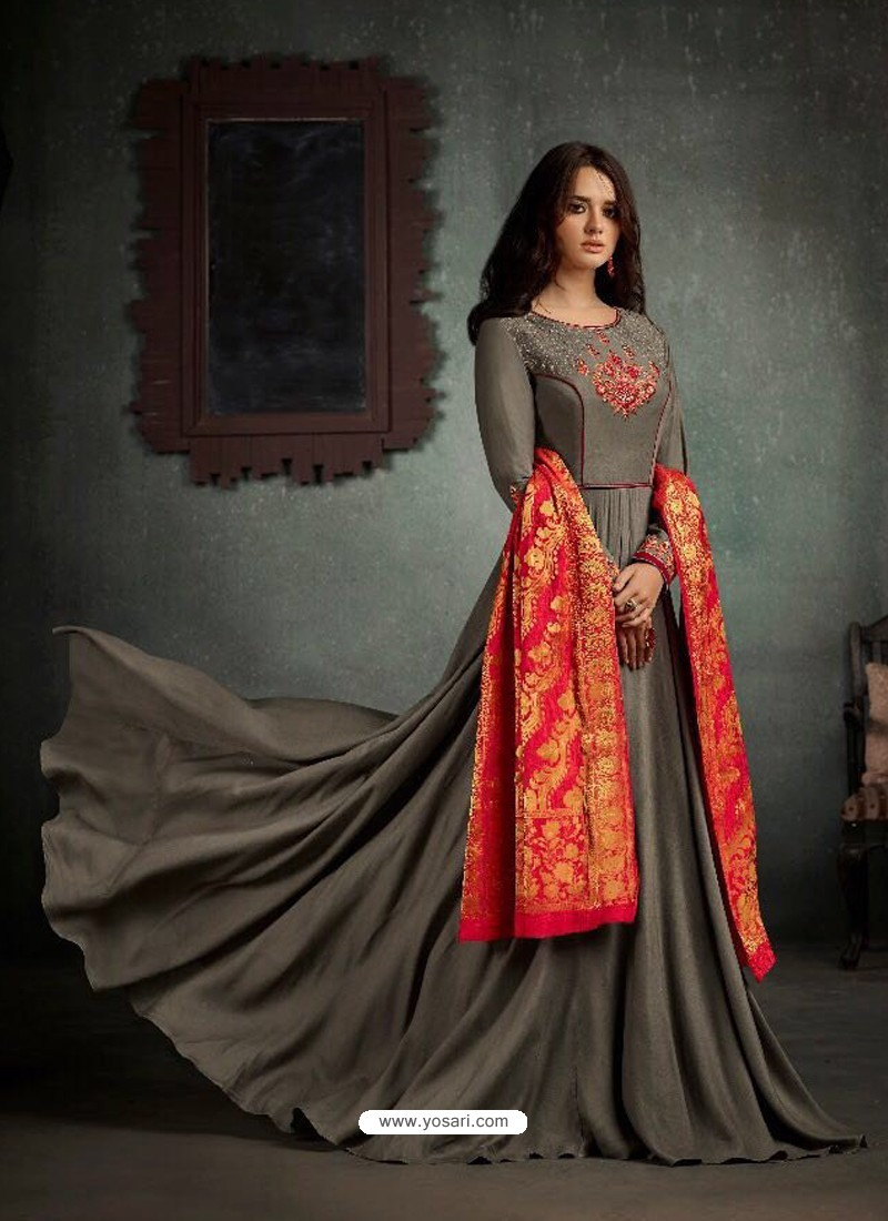 2f021a026e Buy Superb Grey Rayon Cotton Anarkali Suit | Anarkali Suits