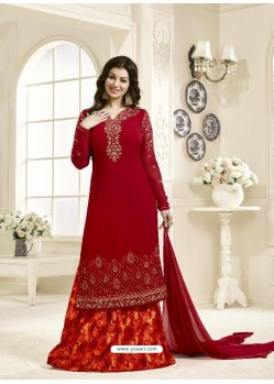 Beautiful Red Geogette Embroidered Palazzo Suit
