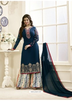 Amazing Geogette Tealblue Embroidered Palazzo Suit