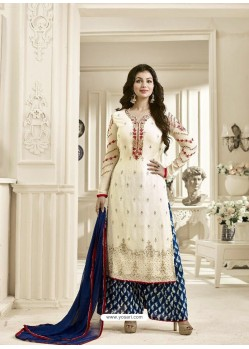 Cream Geogette Embroidered Palazzo Suit