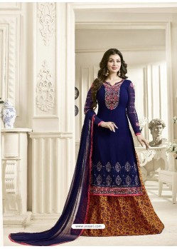 Adorable Blue Geogette Embroidered Palazzo Suit