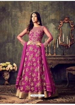 Splendid Magenta Net Anarkali Salwar Suit