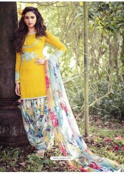 Mustard Resham Work Punjabi Patiala Suit