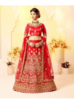 Awesome Red Embroidered Bridal Lehenga Choli