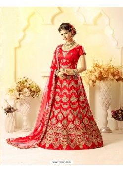 Superb Red Embroidered Lehenga Choli