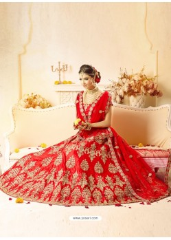 Splendid Red Embroidered Silk Lehenga Choli