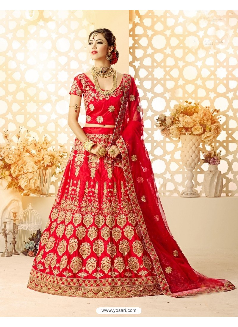 Amazing Red Embroidered Lehenga Choli