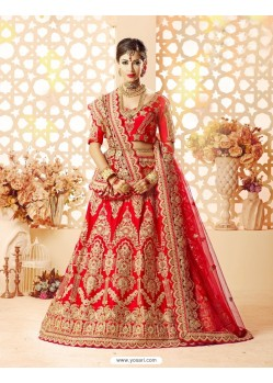 Beautiful Embroidered Red Lehenga Choli
