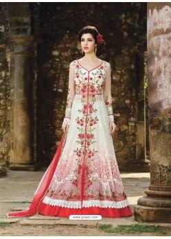 Amazing Red Net Floor Length Anarkali Suit