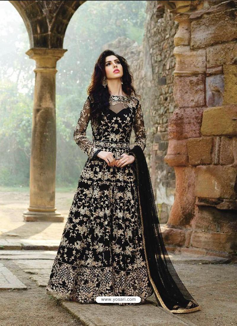 Splendid Black Long Anarkali Salwar Suit