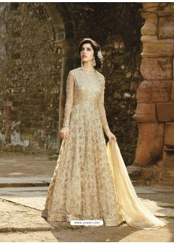 Ordinary Beige Designer Net Anarkali Suit