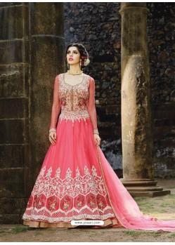 Designer Peach Embroidered Anarkali Salwar Suit
