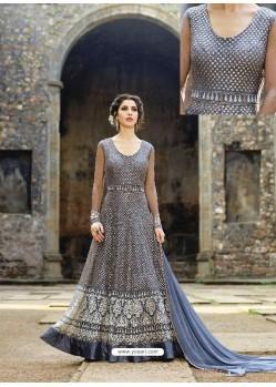 Impressive Grey Net Embroidered Anarkali Suit