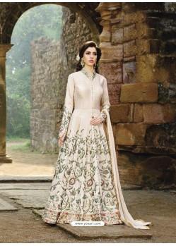 Unique Cream Net Anarkali Salwar Suit