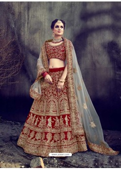 Awesome Red Velvet Embroidered Bridal Lehenga Choli