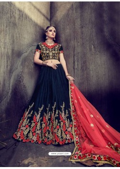 Superb Navy Blue Velvet Embroidered Lehenga Choli