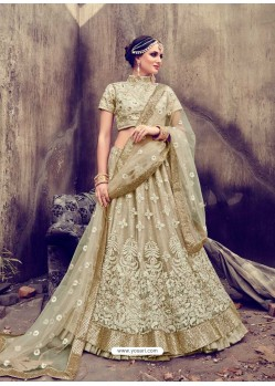 Splendid Beige Embroidered Pure Silk Lehenga Choli
