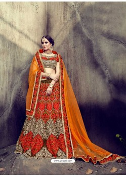 Amazing Orange Velvet Embroidered Lehenga Choli