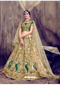 Heavenly Gold Embroidered Pure Silk Lehenga Choli