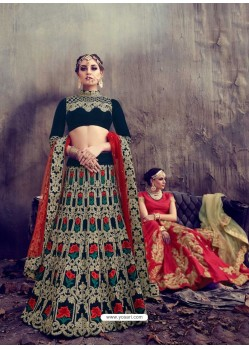 Designer Multi Colour Embroidered Velvet Lehenga Choli