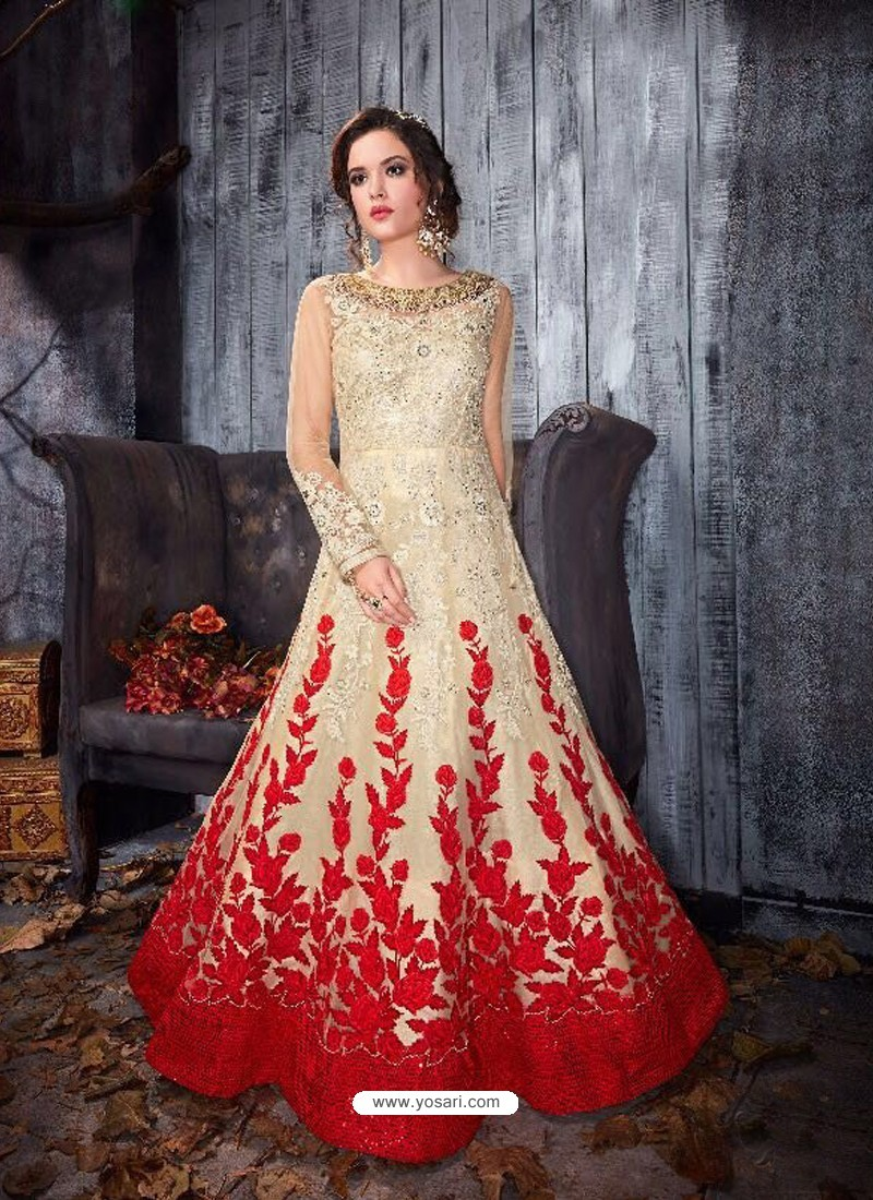 Amazing Cream Net Floor Length Anarkali Suit