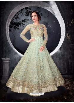 Splendid Olive Green Net Anarkali Suit