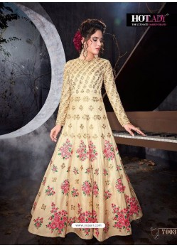 Superb Cream Designer Akira Silk Anarkali Suit