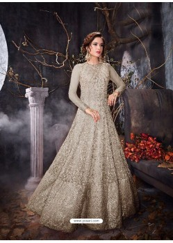 Designer Dull Grey Net Anarkali Suit