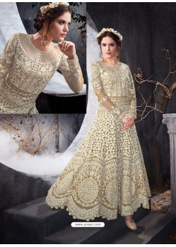Impressive Beige Net Floor Length Anarkali Suit