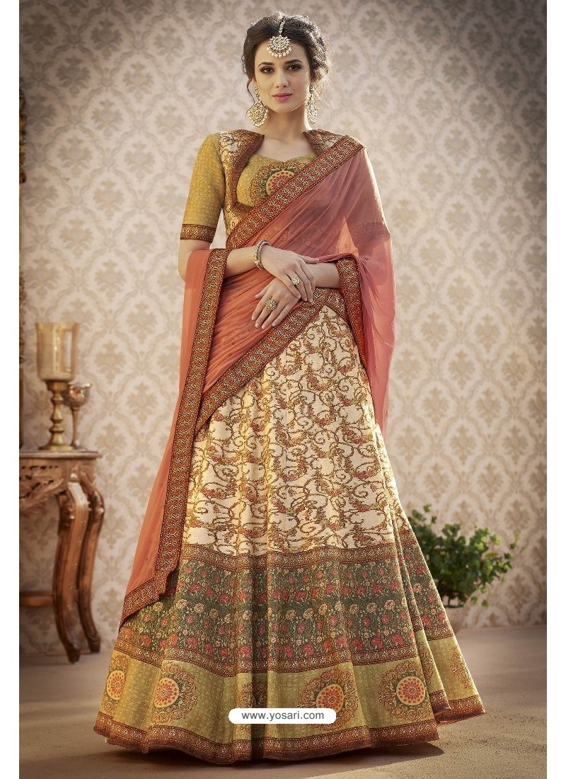 3c3f385ca5 Buy Awesome Beige Pure Banarasi Natural Silk Lehenga Choli | Lehenga ...
